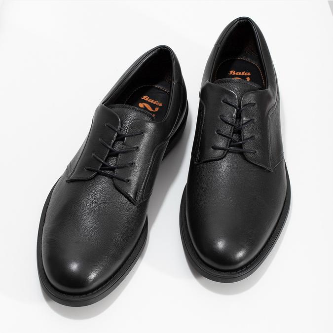 Pánské kožené polobotky černé flexible, černá, 824-6766 - 16