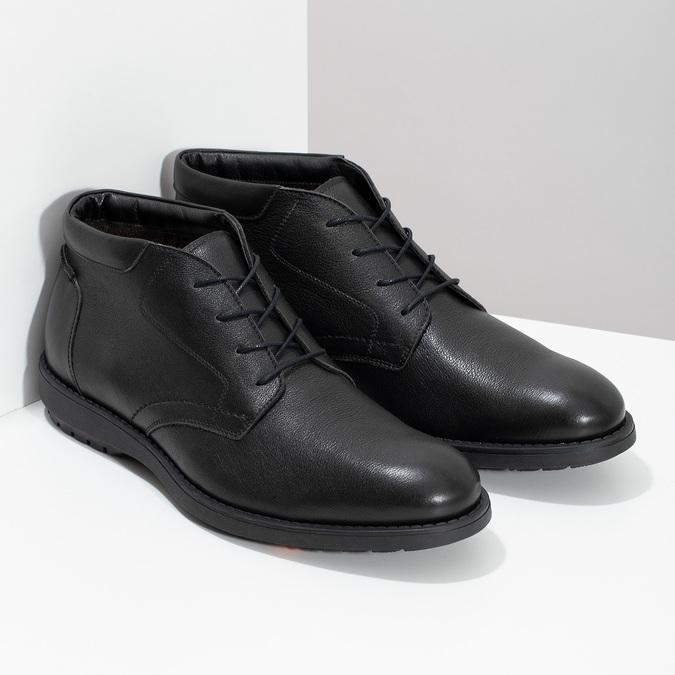 Kotníčková kožená pánská obuv černá flexible, černá, 894-6704 - 26