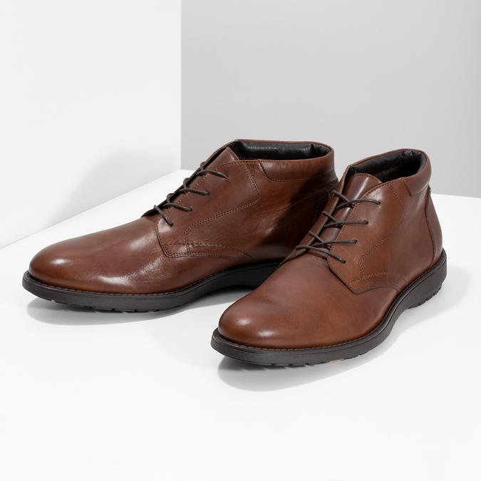 Kotníčková kožená pánská obuv hnědá flexible, hnědá, 896-4707 - 16
