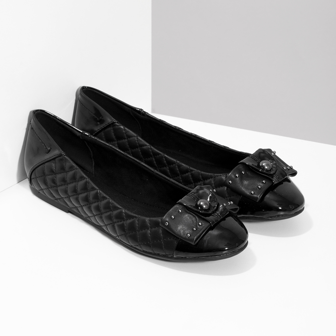 Černé kožené baleríny s mašlí a prošíváním bata, černá, 524-6667 - 26