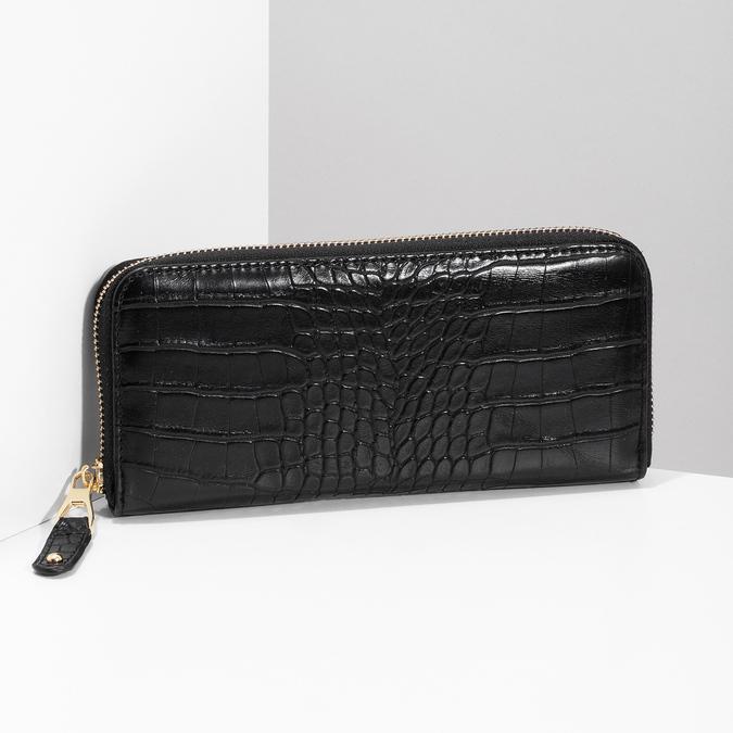 Černá dámská peněženka se strukturou bata, černá, 941-6220 - 17