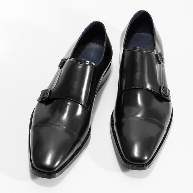 Pánské kožené Monk Shoes polobotky bata, černá, 824-6613 - 16