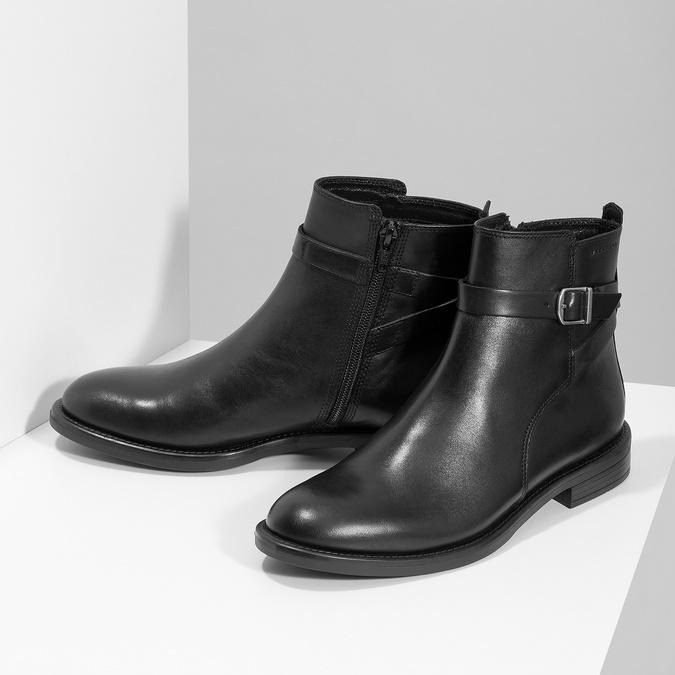 Kožená dámská kotníčková obuv s přezkou vagabond, černá, 514-6140 - 16