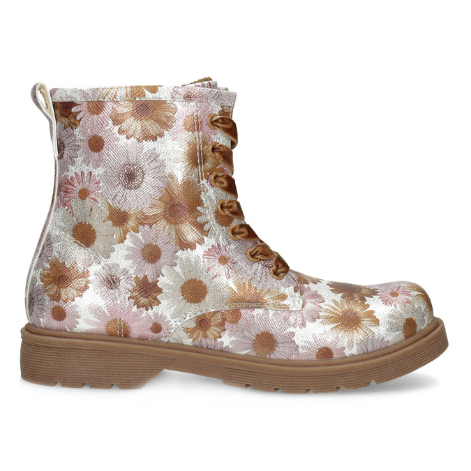 Dětská kotníčková obuv s květinovým vzorem mini-b, hnědá, 321-8620 - 19