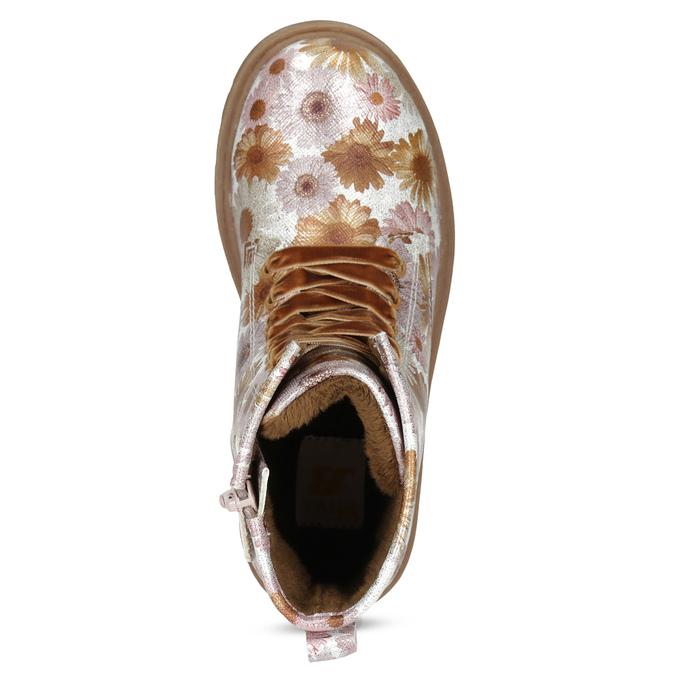 Dětská kotníčková obuv s květinovým vzorem mini-b, hnědá, 321-8620 - 17