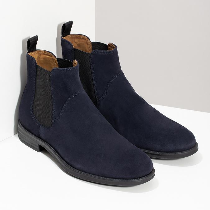 Tmavě modrá kožená pánská Chelsea obuv vagabond, modrá, 813-6153 - 26