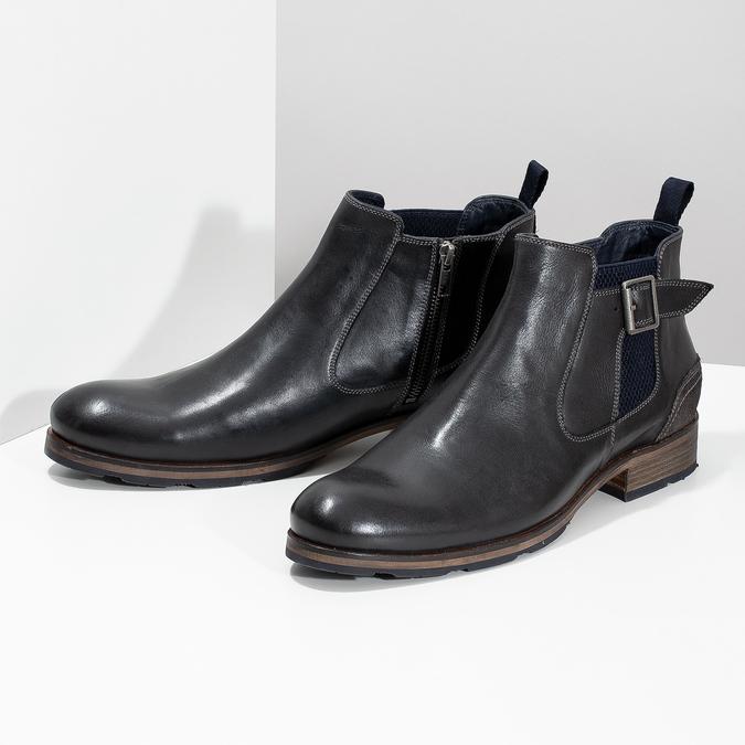 Černá kožená Chelsea obuv s přezkou bata, černá, 826-6781 - 16