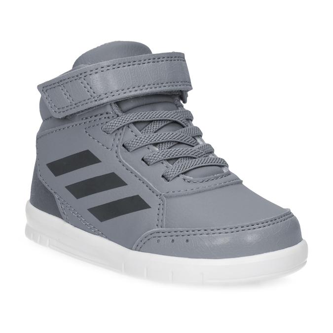 Šedé kotníčkové dětské tenisky na suchý zip adidas, šedá, 101-2220 - 13