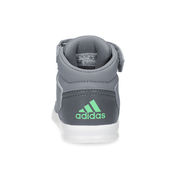 Šedé kotníčkové dětské tenisky na suchý zip adidas, šedá, 101-2220 - 15