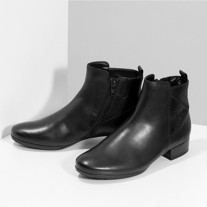 Dámské kožené černé kotníčkové kozačky gabor, černá, 614-6049 - 16