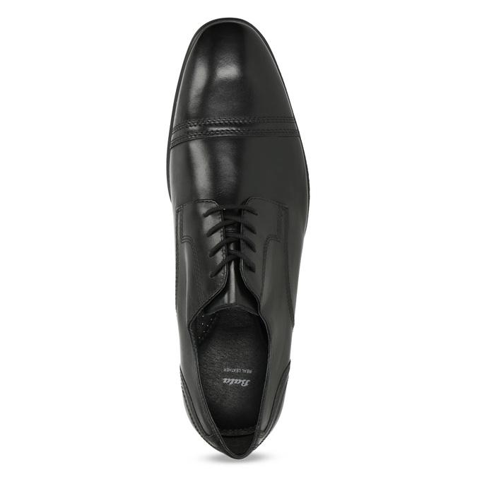 Pánské černé kožené Derby polobotky bata, černá, 824-6891 - 17