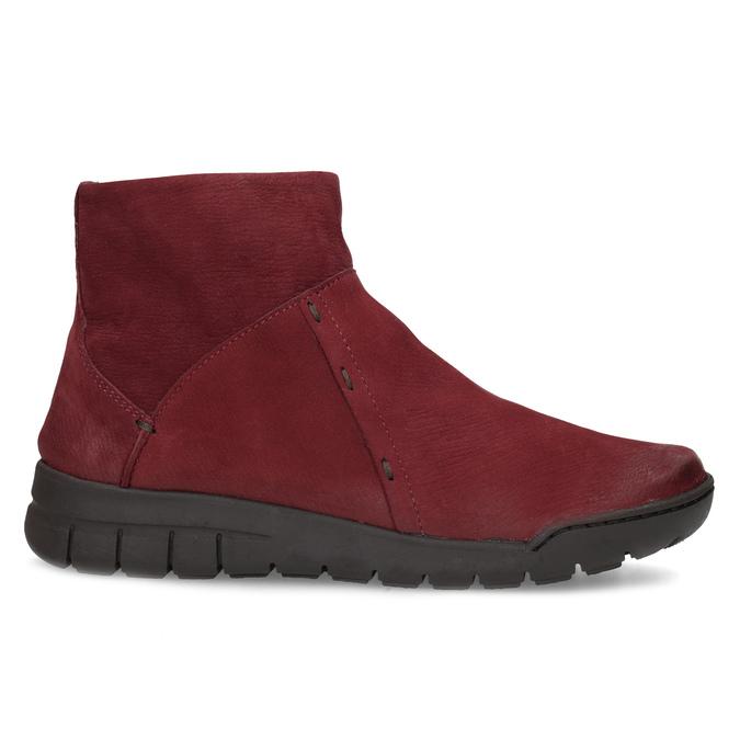 Červené kožené kotníčkové kozačky bata, červená, 596-5706 - 19