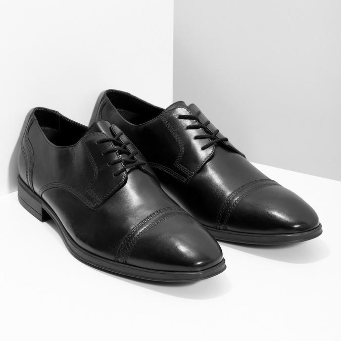 Pánské černé kožené Derby polobotky bata, černá, 824-6891 - 26
