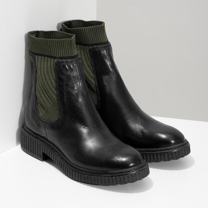Ponožkové kožené kozačky v Chelsea stylu bata, černá, 596-6721 - 26