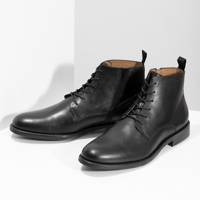 Pánská kožená kotníčková obuv černá vagabond, černá, 824-6238 - 16
