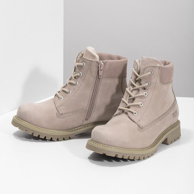 Růžová kožená kotníčková obuv weinbrenner-junior, růžová, 326-5608 - 16