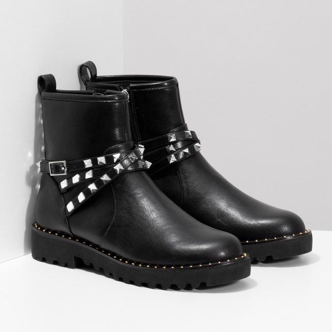 Černé dámské kozačky s kovovými cvoky bata, černá, 591-6633 - 26