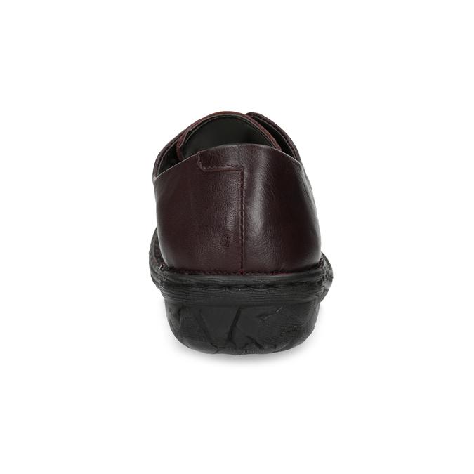 Vínové ležérní dámské kožené polobotky bata, červená, 526-5665 - 15
