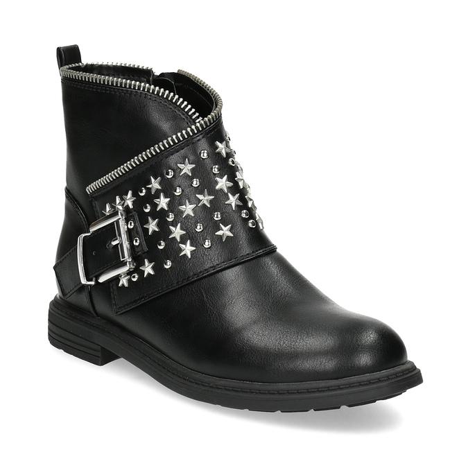 Dívčí kotníkové kozačky s hvězdičkami mini-b, černá, 391-6264 - 13