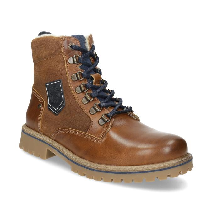 Chlapecká kotníčková obuv s kožíškem mini-b, hnědá, 414-3603 - 13