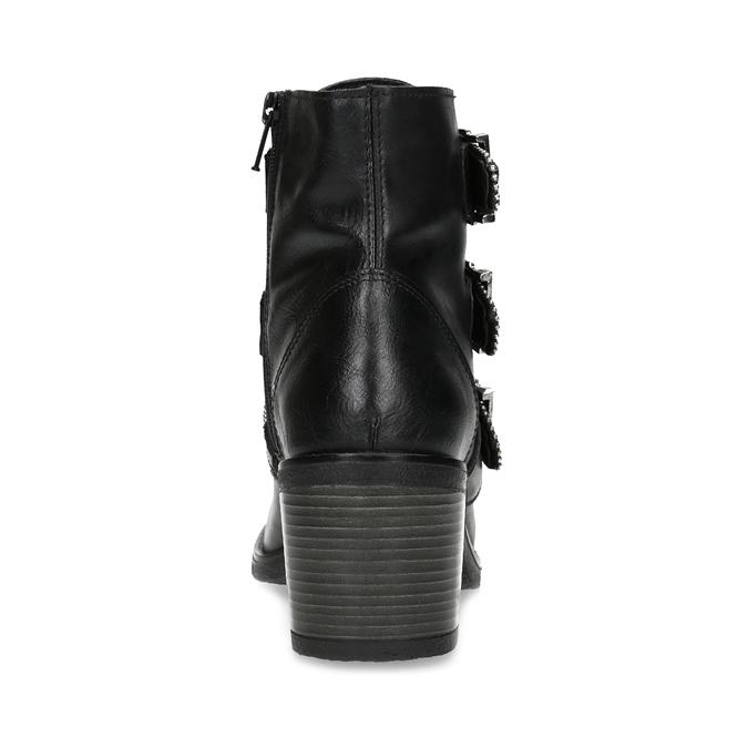 Kožená dámská kotníčková obuv s přezkami bata, černá, 694-6670 - 15