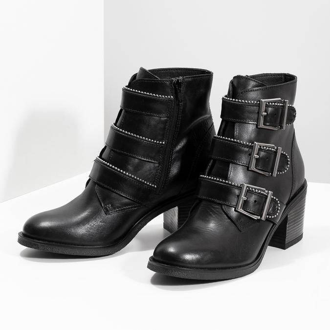 Kožená dámská kotníčková obuv s přezkami bata, černá, 694-6670 - 16