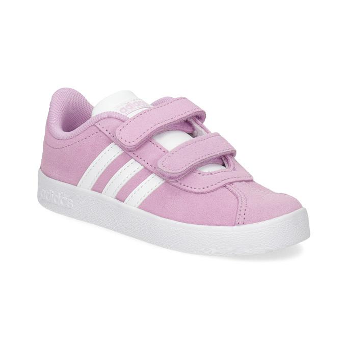Růžové kožené dětské tenisky adidas, růžová, 103-5203 - 13