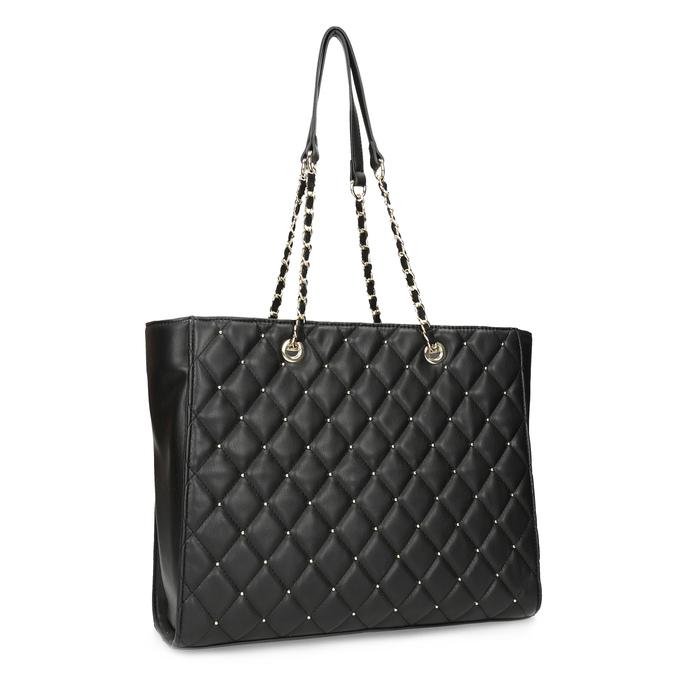 Černá prošívaná kabelka se zlatým řetízkem bata, černá, 961-6908 - 13