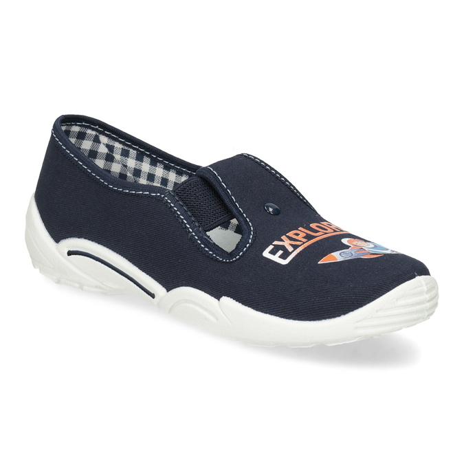 Dětská domácí obuv s motivem rakety mini-b, modrá, 379-9219 - 13