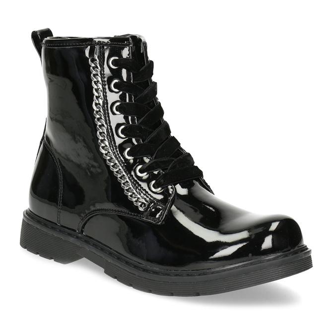 Zimní lesklá kotníčková obuv dívčí mini-b, černá, 391-6170 - 13