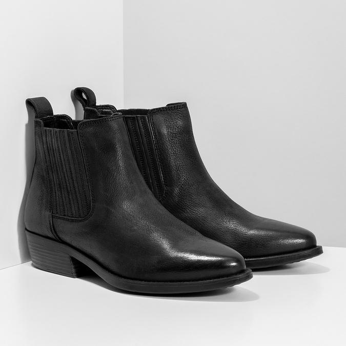 Dámská kožená kotníčková obuv s pružením bata, černá, 596-6969 - 26