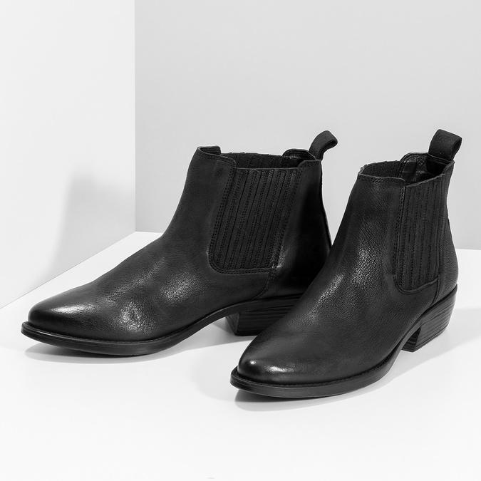 Dámská kožená kotníčková obuv s pružením bata, černá, 596-6969 - 16