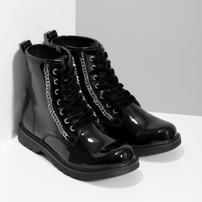 Zimní lesklá kotníčková obuv dívčí mini-b, černá, 391-6170 - 26