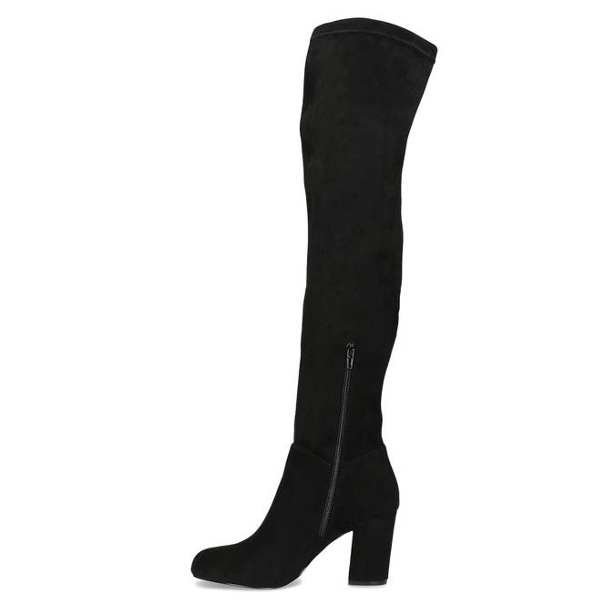 Černé dámské kozačky nad kolena bata, černá, 799-6638 - 17