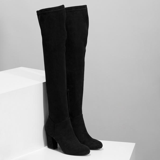 Černé dámské kozačky nad kolena bata, černá, 799-6638 - 26