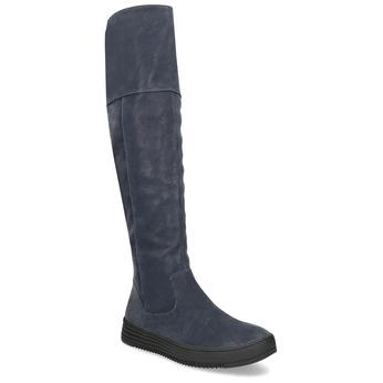 Modré dámské kozačky s prošitím bata, modrá, 691-9636 - 13