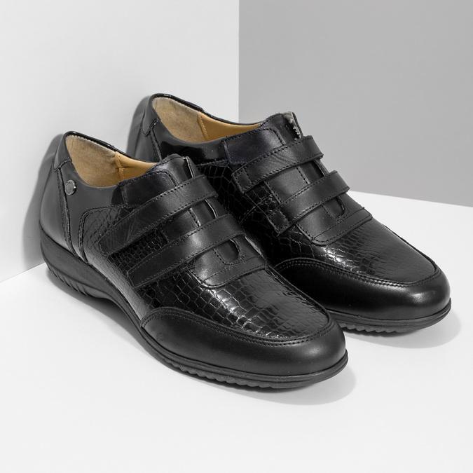 Kožené ležérní tenisky na suché zipy comfit, černá, 624-6160 - 26