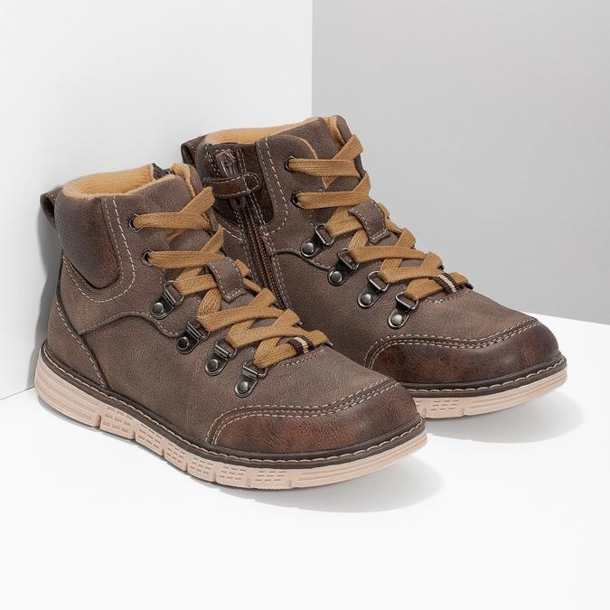 Hnědá dětská kotníčková obuv na zip mini-b, hnědá, 311-4614 - 26