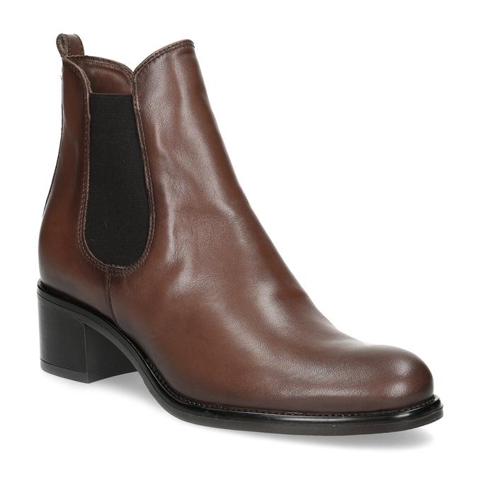 Kožené dámské Chelsea na podpatku bata, hnědá, 694-4667 - 13