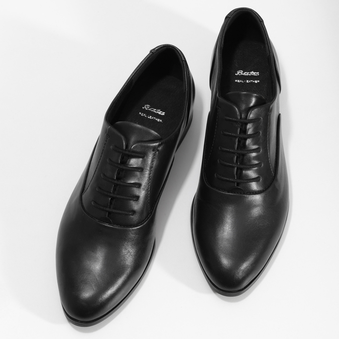 Dámské kožené černé Oxfordky bata, černá, 524-6668 - 16