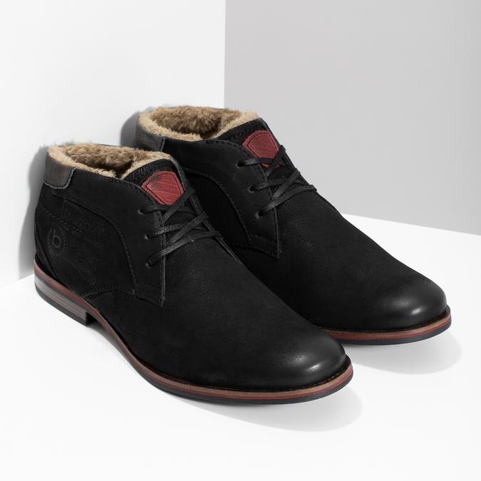 Zimní pánská kožená obuv černá bugatti, černá, 829-6049 - 26