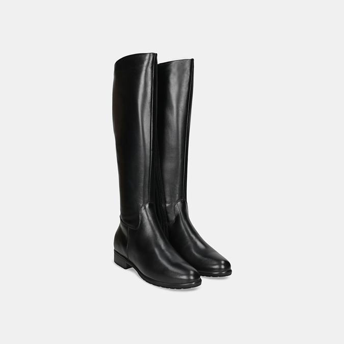 Černé kožené kozačky bata, černá, 594-6675 - 26