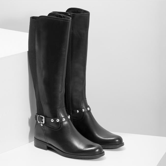 Vysoké kožené kozačky s kovovými cvoky bata, černá, 594-6669 - 26