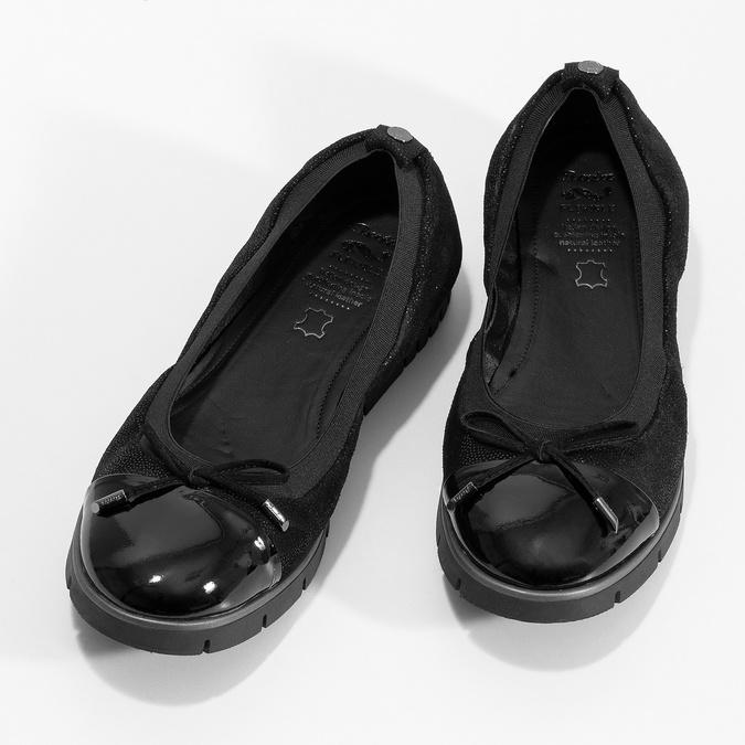 Dámské kožené baleríny černé flexible, černá, 526-6663 - 16
