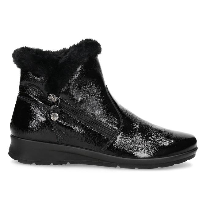 Dámská kožená kotníková obuv s kožíškem comfit, černá, 598-6605 - 19