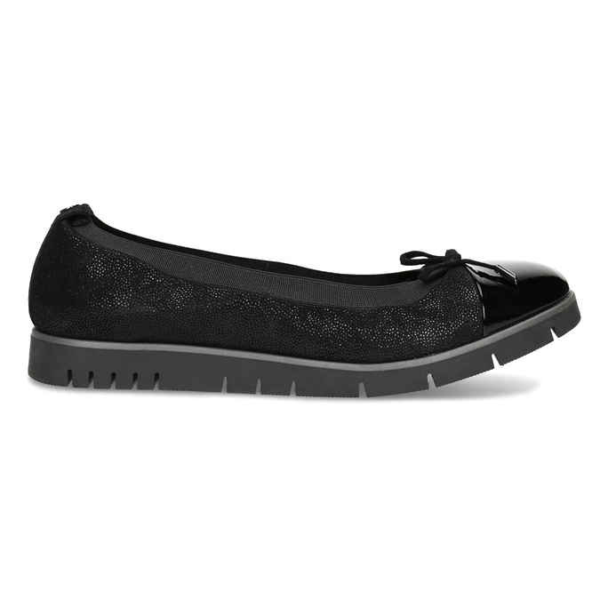 Dámské kožené baleríny černé flexible, černá, 526-6663 - 19