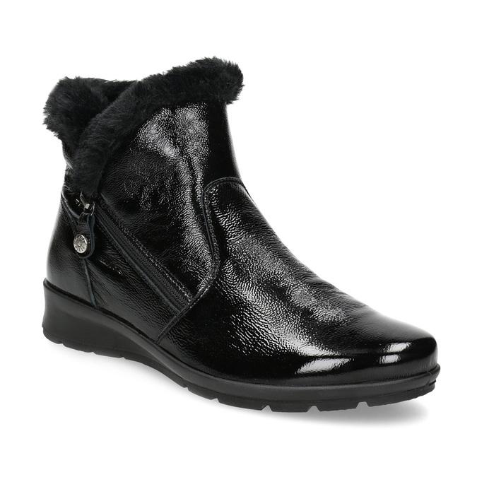Dámská kožená kotníková obuv s kožíškem comfit, černá, 598-6605 - 13