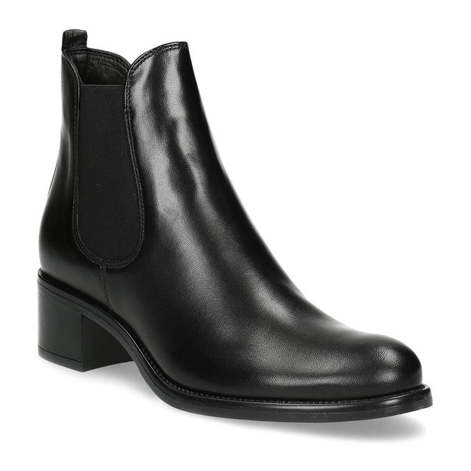 Kožené dámské Chelsea  na podpatku bata, černá, 694-6667 - 13