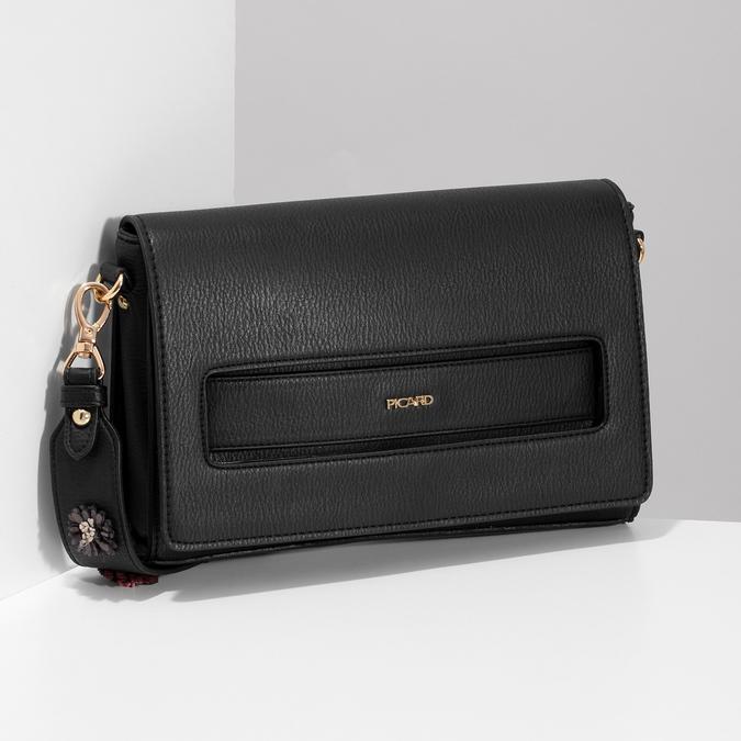 Černá dámská kabelka s květinami picard, černá, 961-6040 - 17
