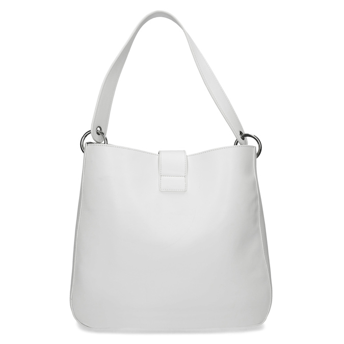 Bílá kabelka s kulatou sponou bata, bílá, 961-1931 - 16